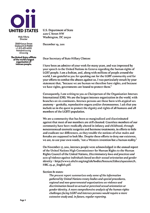 OII Chairperson and OII USA director Hida Viloria's letter to US Secretary of State Hillary Clinton asking for full intersex inclusion in White House human rights initiatives