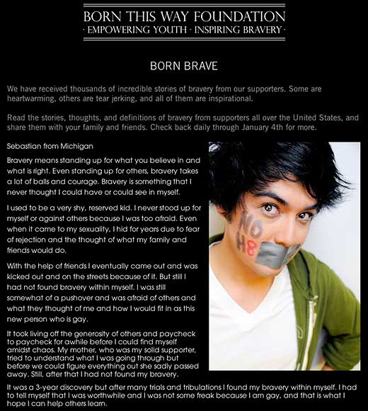 Born This Way Foundation: Born Brave - click to go to this web page.