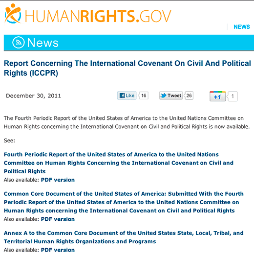 HumanRights.gov : Report Concerning The International Covenant On Civil And Political Rights (ICCPR) - click to go to this web page.