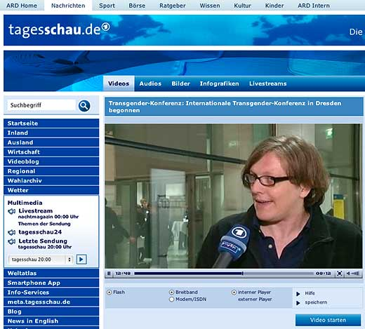 Report on German television about the Transgender and Intersex in the Arts, Science and Society conference in Dresden