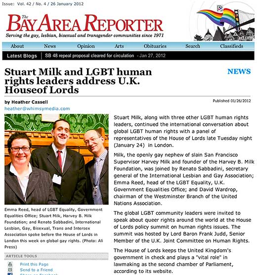The Bay Area Reporter reports on intersex-inclusive House of Lords LGBTI human rights event
