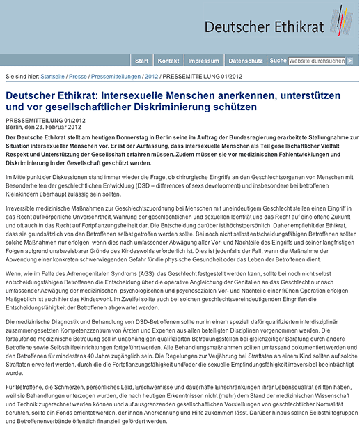 Deutscher Ethikrat releases opinion document and press release on its inquiry into intersex in Germany