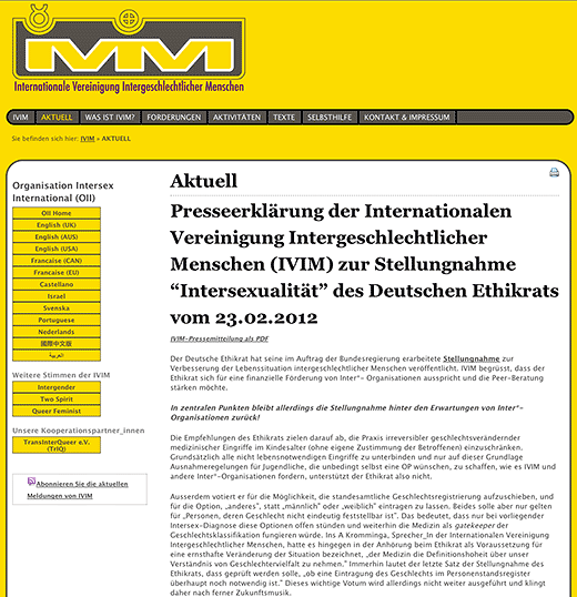 IVIM/OII Germany issues press release commenting on Deutscher Ethikrat's opinion document on situation of intersex people in Germany