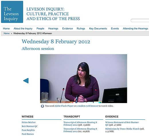 Some notes on intersex related to the Leveson Inquiry, Wednesday 8th February 2012