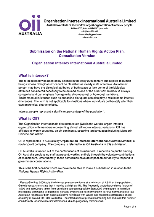 Organisation Intersex International Australia Limited: Submission on the National Human Rights Action Plan, Consultation Version, page 1.