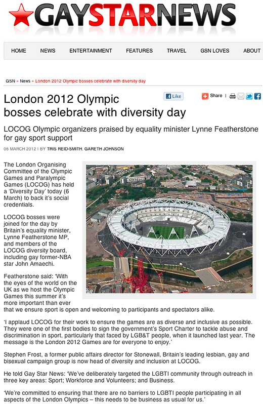 London Olympics Head of Diversity & Inclusion includes intersex while Equality Minister excludes intersex people