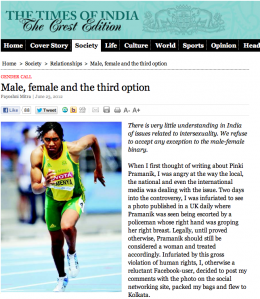 "The Times of India: ""Male, female and the third option"""