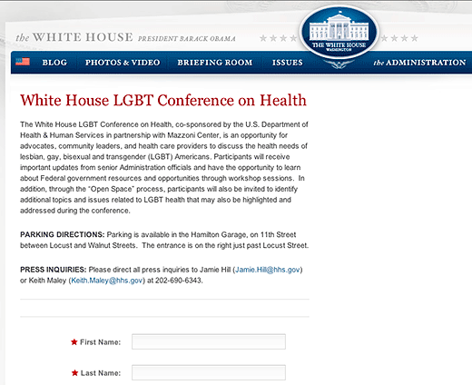 The White House - White House LGBT Conference on Health - click to go to this page on The White House website.