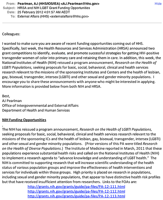 Screenshot of email on intersex and LGBTI grants funding from AJ Pearlman, Office of Intergovernmental and External Affairs, Department of Health and Human Services.