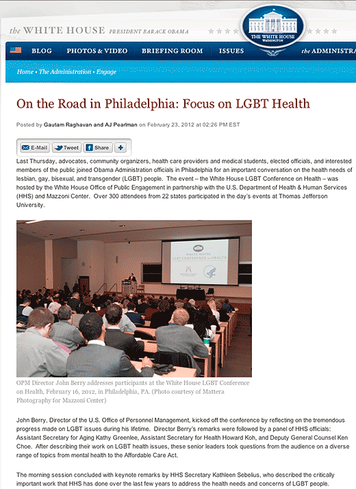 The White House: On the Road in Philadelphia: Focus on LGBT Health - click to go to this web page.